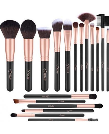 18 pinceaux de maquillage professionnels Noirs + Ecrin Cuir