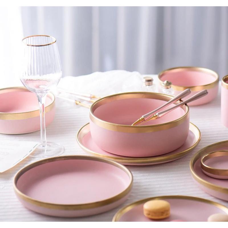 Ensemble Vaisselle Céramique Rose Tendre & Or